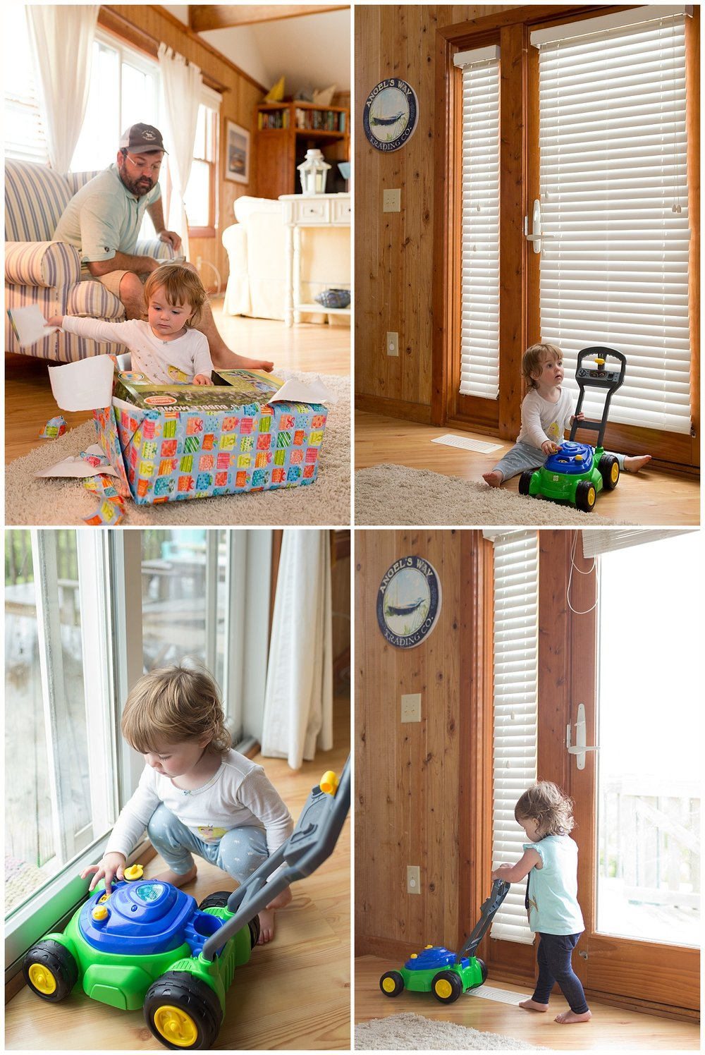 toddler girl with toy bubble mower indoors
