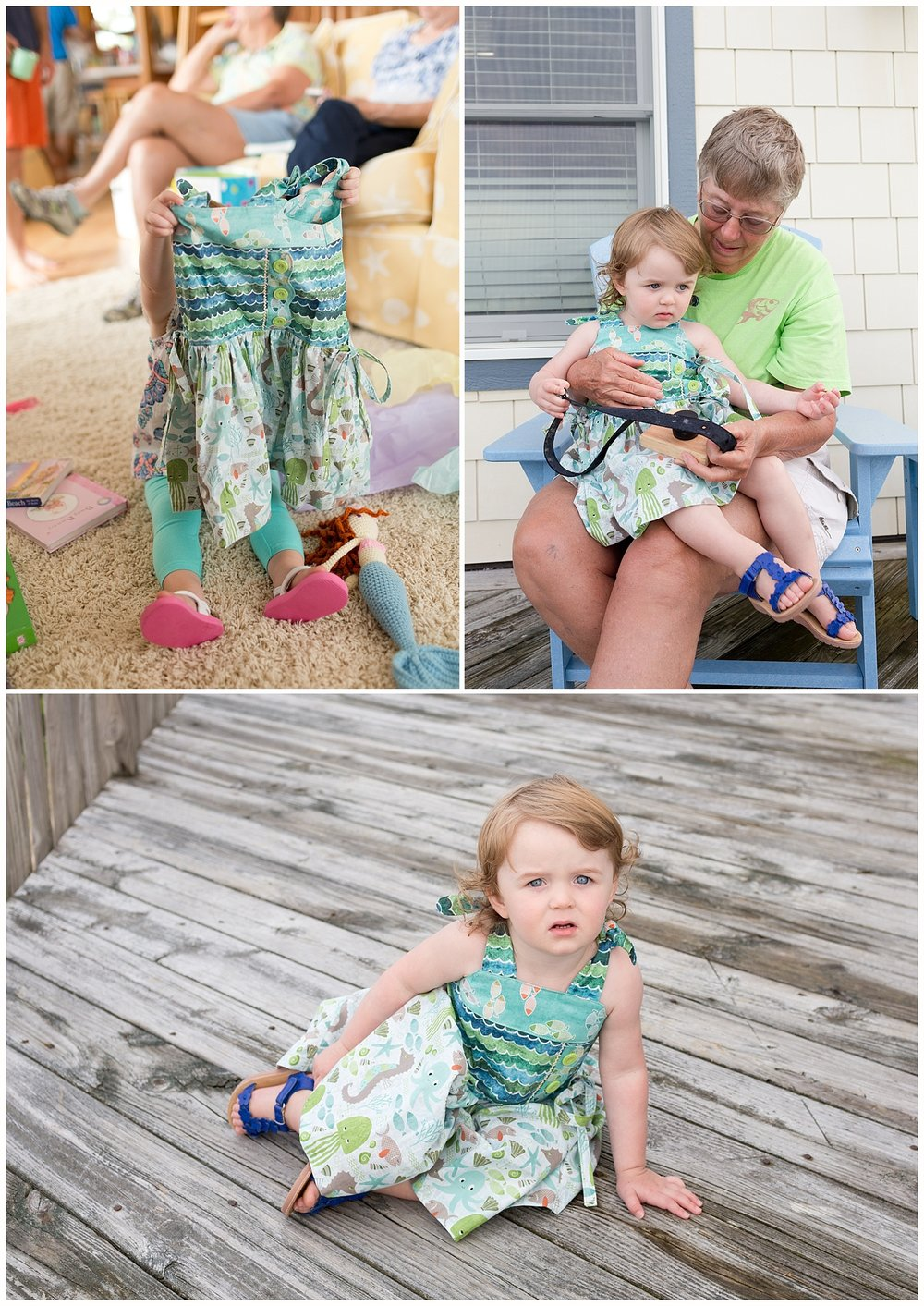 two year old girl in ocean print dress handmade by grandma