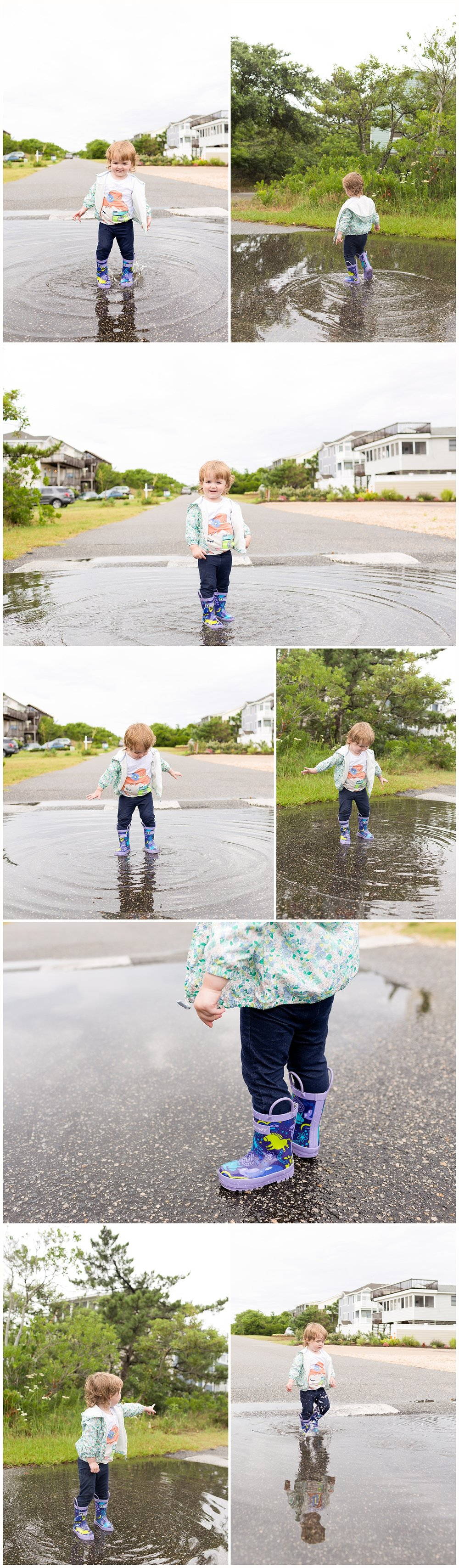 toddler girl splashing in rain puddles in rain boots - Duck, North Carolina