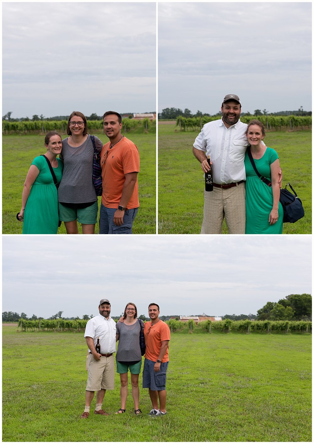 group photos of cousins at Sanctuary Vineyards tour