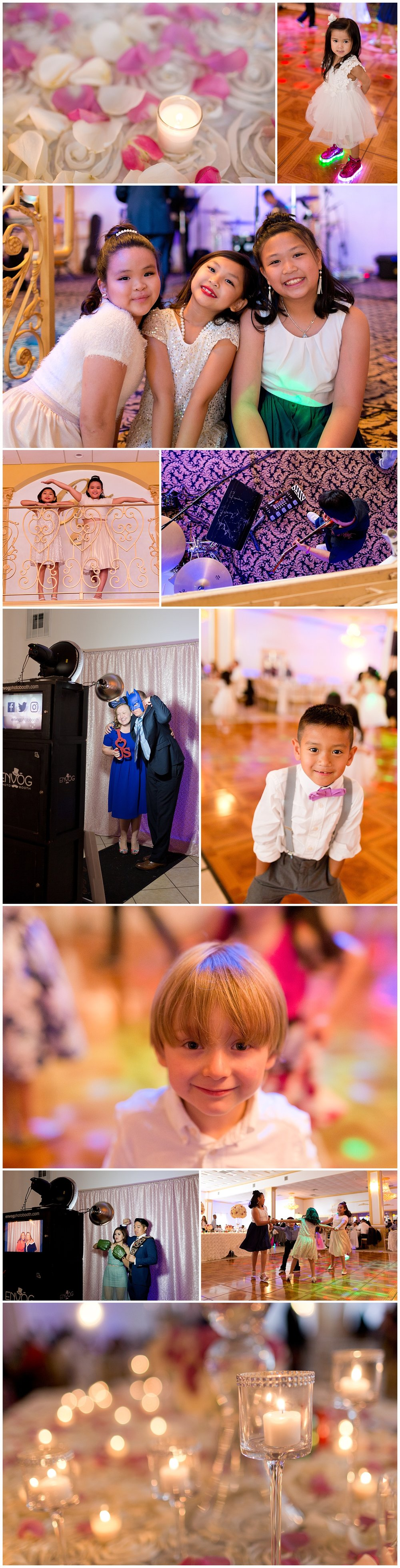 wedding reception photos with candles, kids on dance floor, photo booth