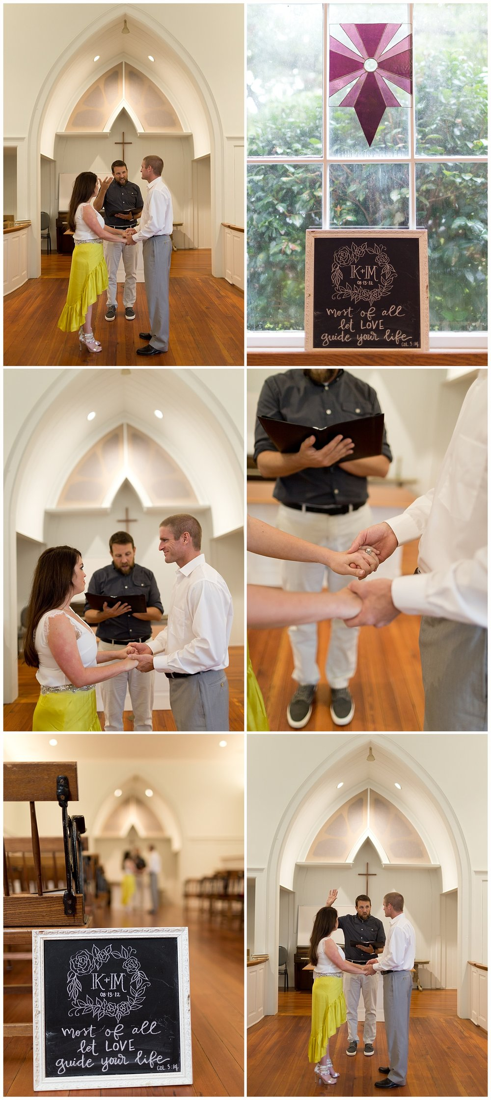 private vow renewal ceremony at First Presbyterian Church in Ocean Springs, Mississippi