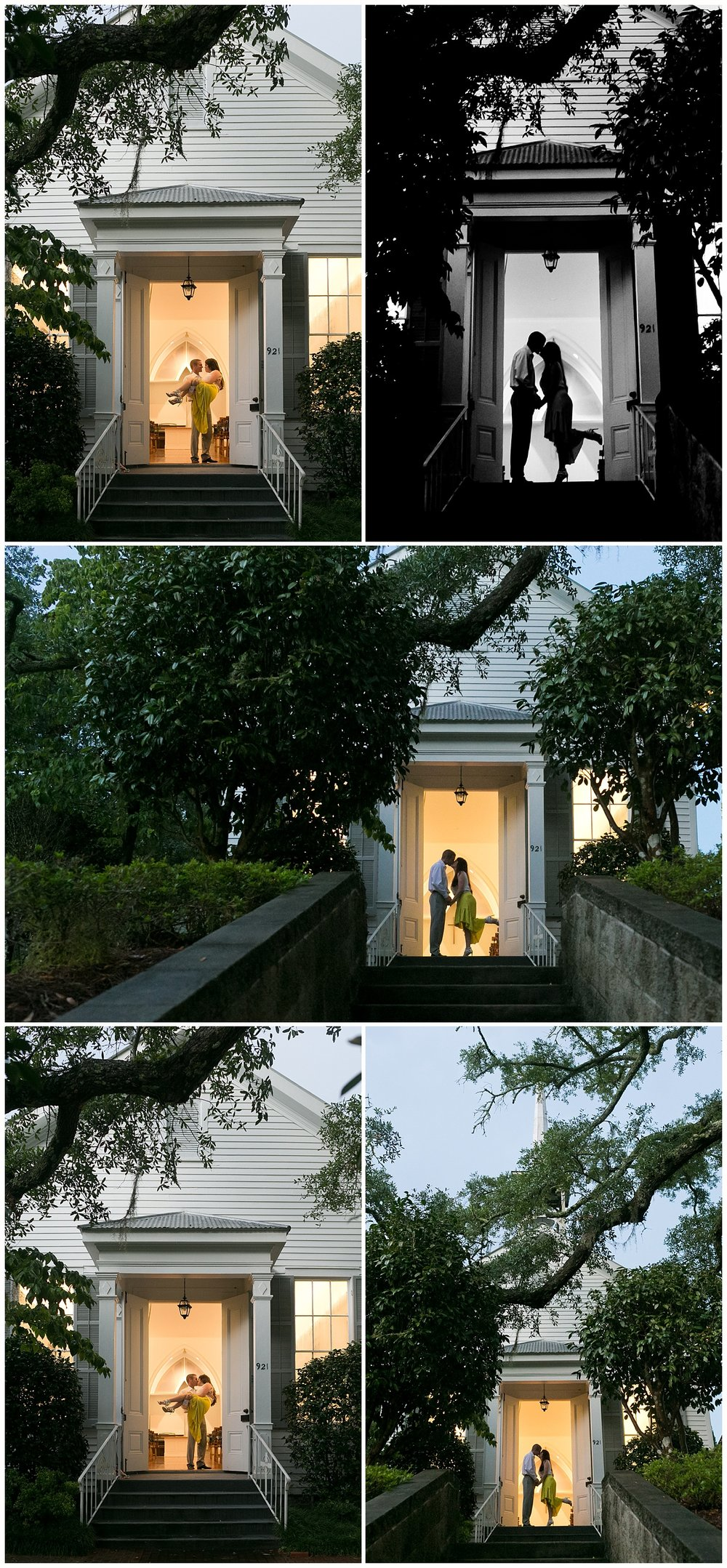 romantic silhouette photos in chapel doorway at night - Ocean Springs wedding photographer Uninvented Colors Photography