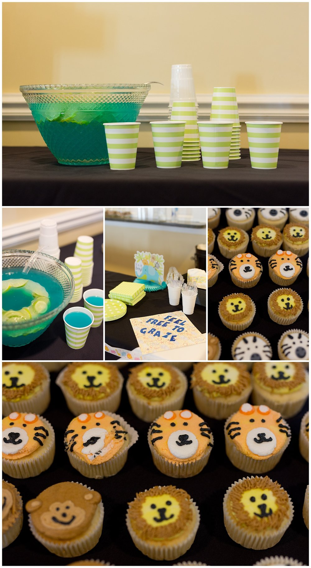 baby shower treats - jungle animal cupcakes and blue punch