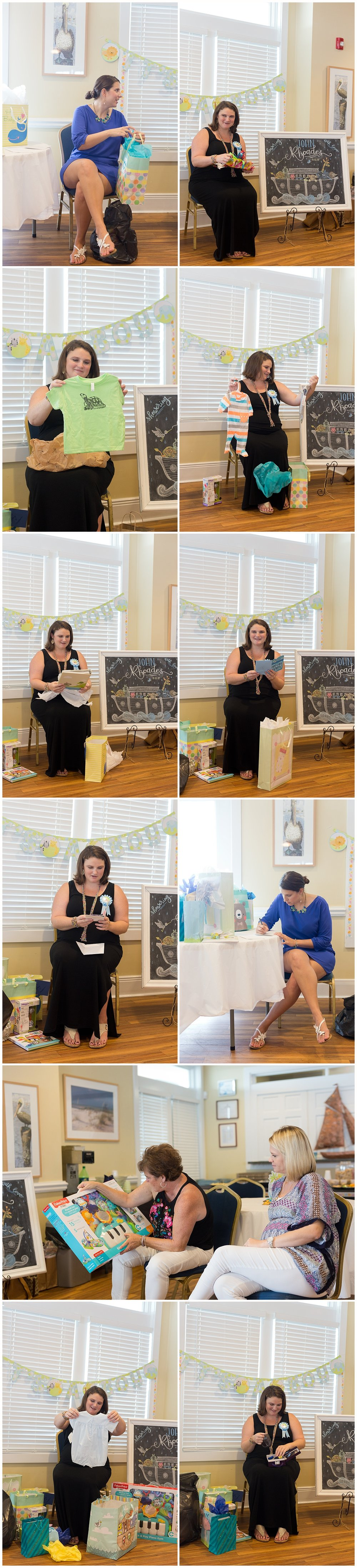 mom-to-be opening presents at baby shower at Ocean Springs Yacht Club