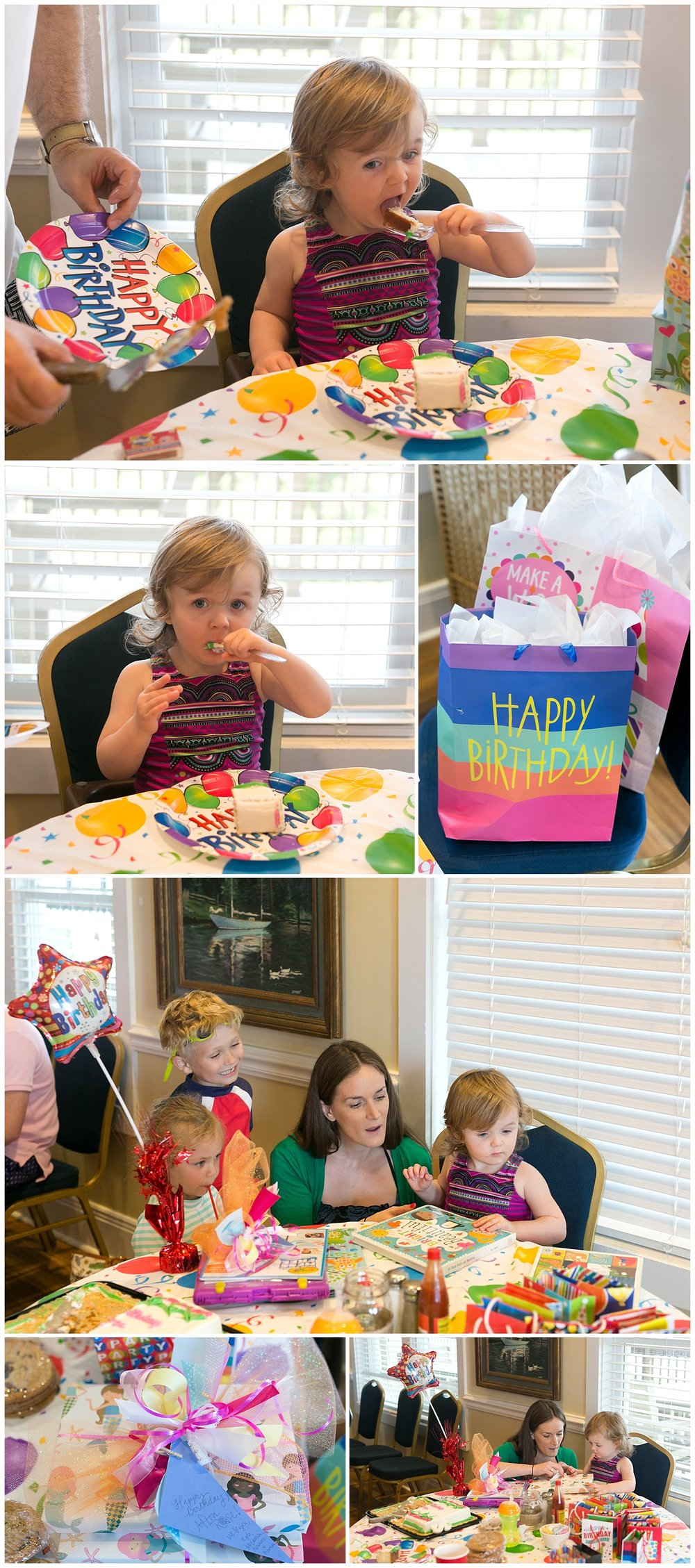 two-year-old celebrating birthday at Ocean Springs Yacht Club - cake and presents