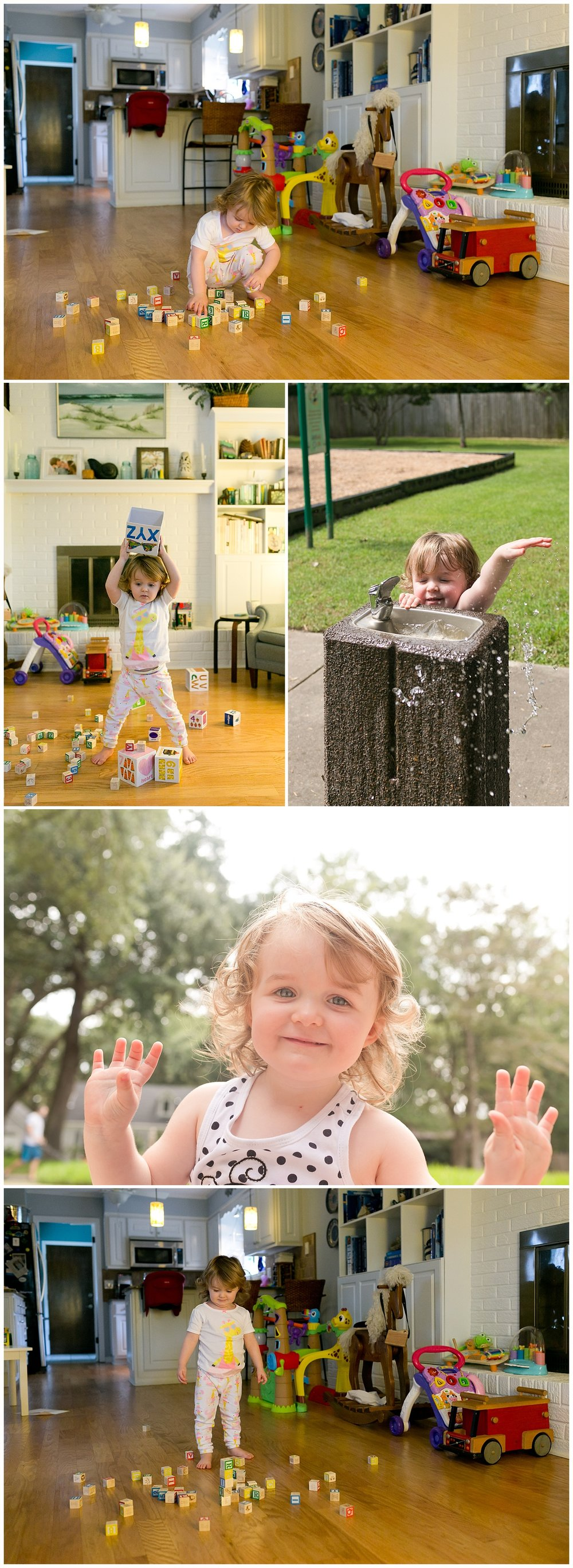 spunky two-year-old girl playing with blocks, water fountain