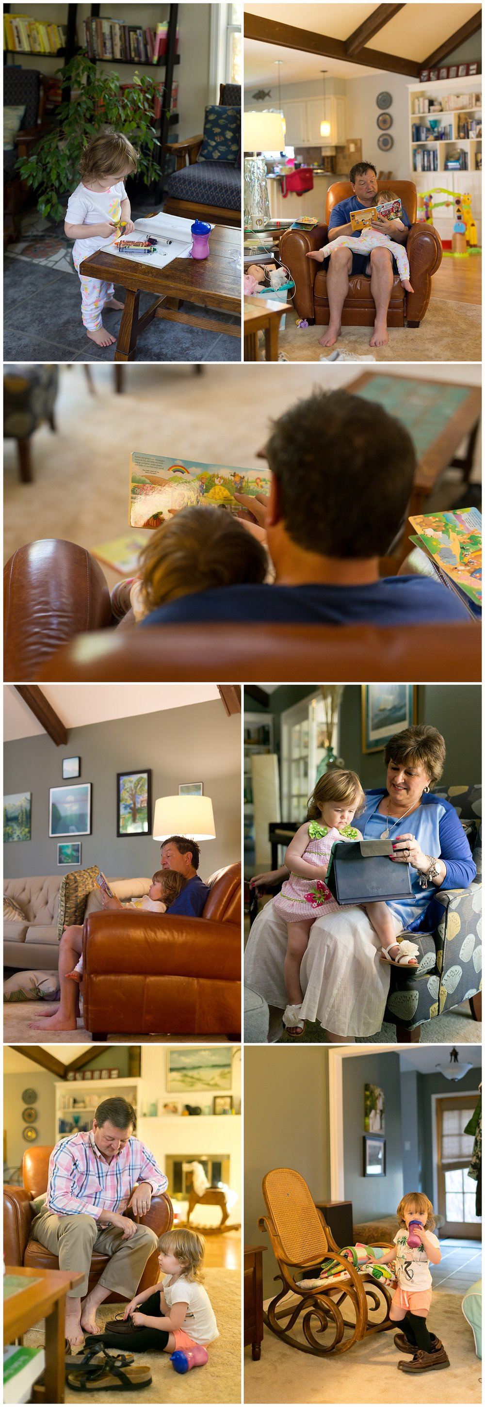 relaxed family photos at home - grandparents with grandchild