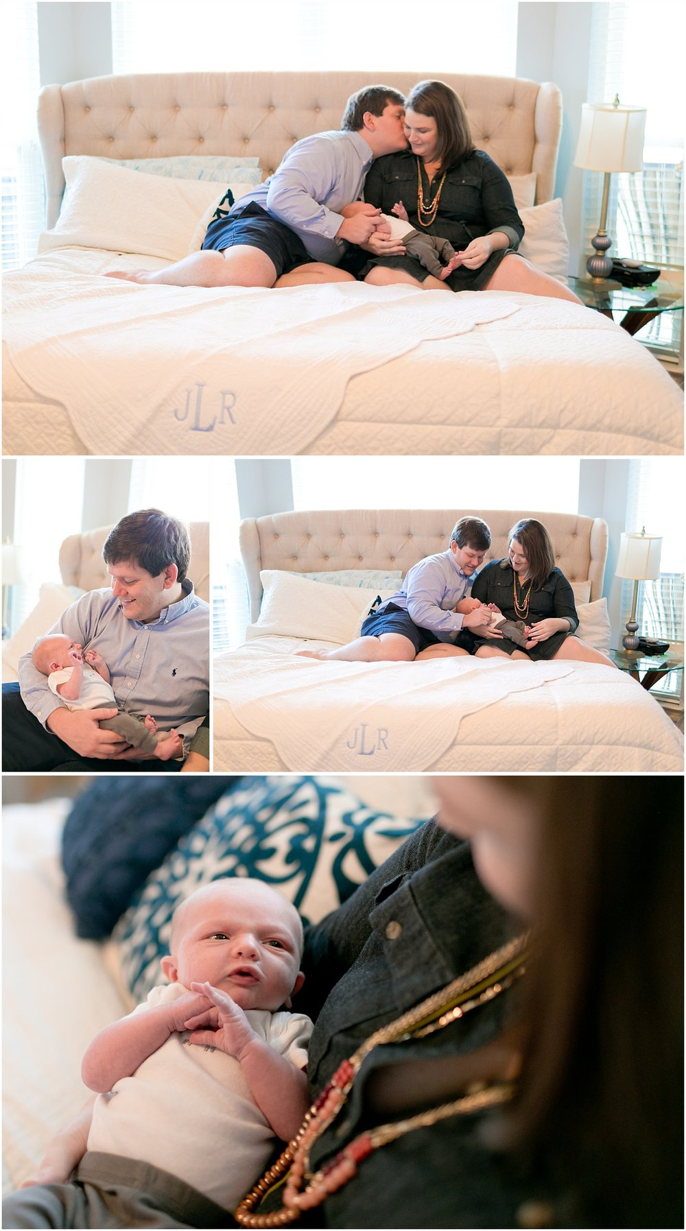 lifestyle newborn photography - family snuggled on bed with baby boy
