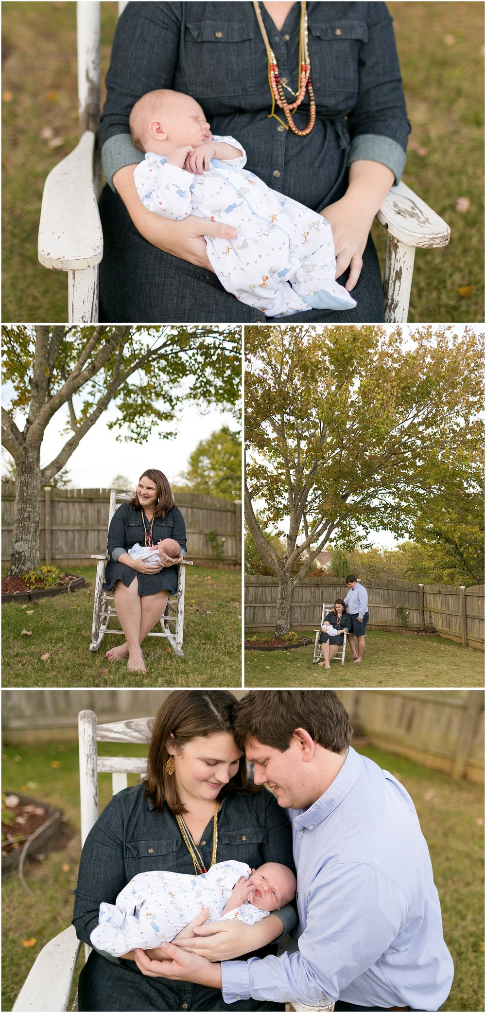 rustic outdoor newborn photos with rocking chair, fence in backyard