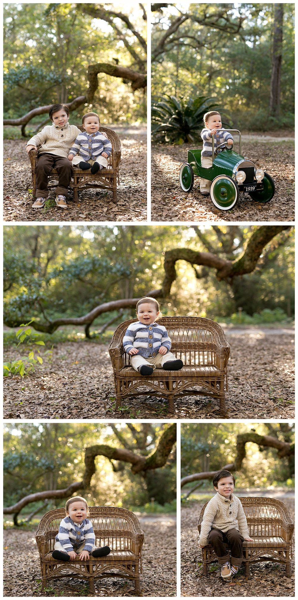 one year old portraits with wicker bench, antique car, big brother in woods