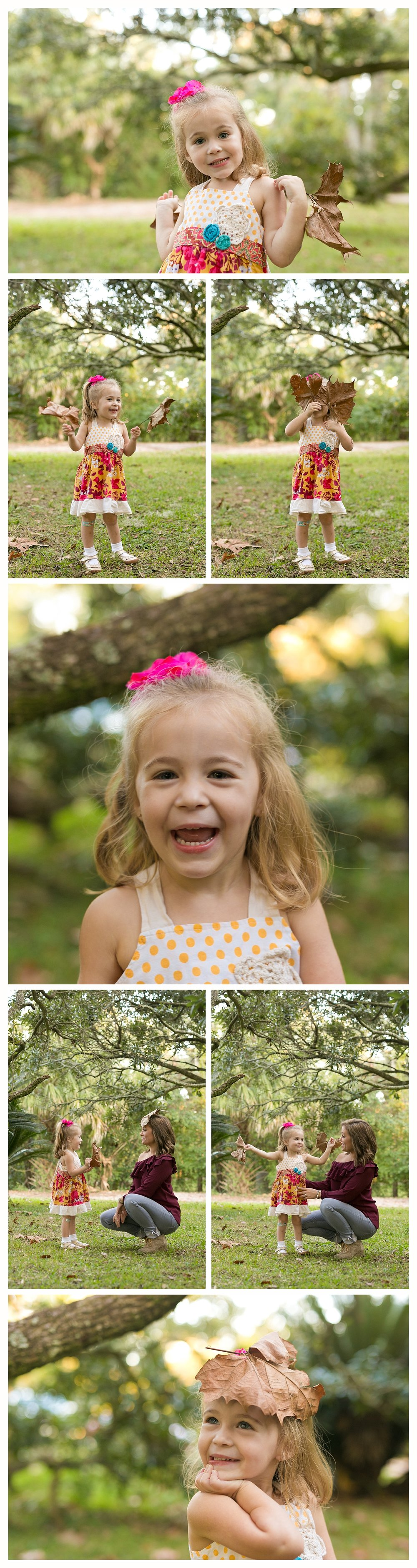 fun, candid children's photos (little girl and mom playing with leaves)