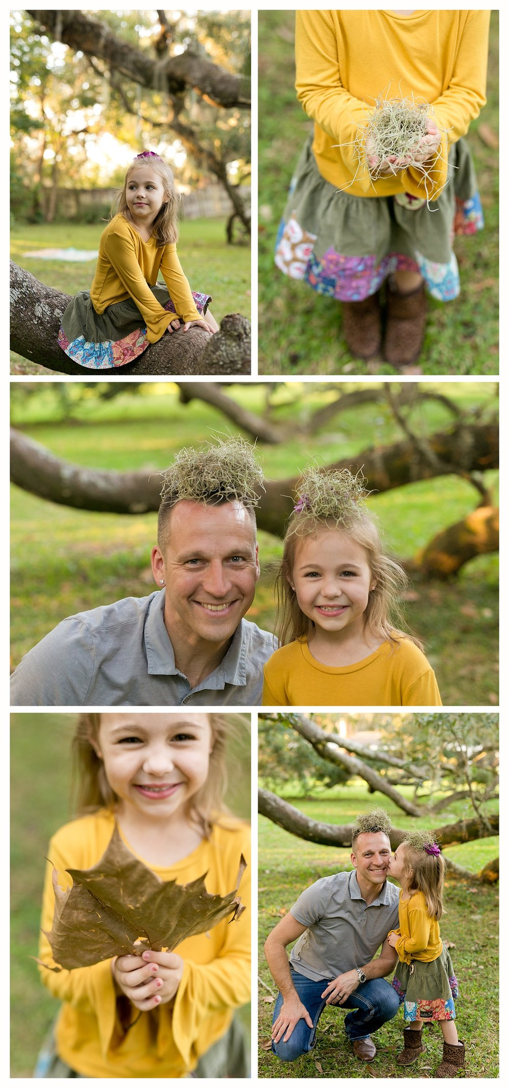 silly family photos in Ocean Springs, little girl and dad playing with leaves and Spanish moss