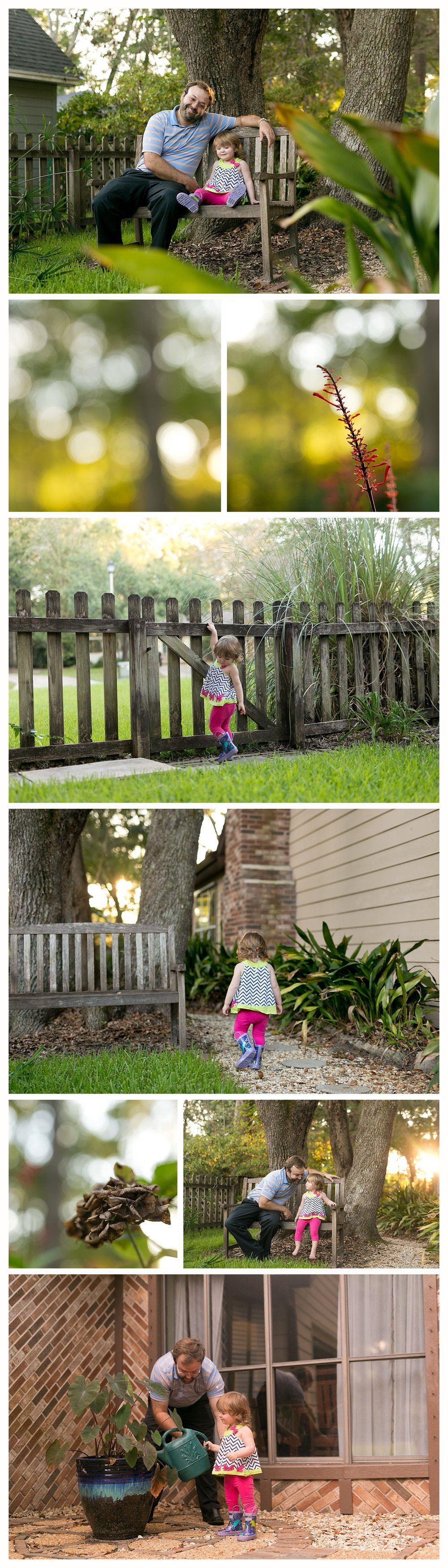 toddler girl in yard with daddy, helping water plants, wearing rain boots