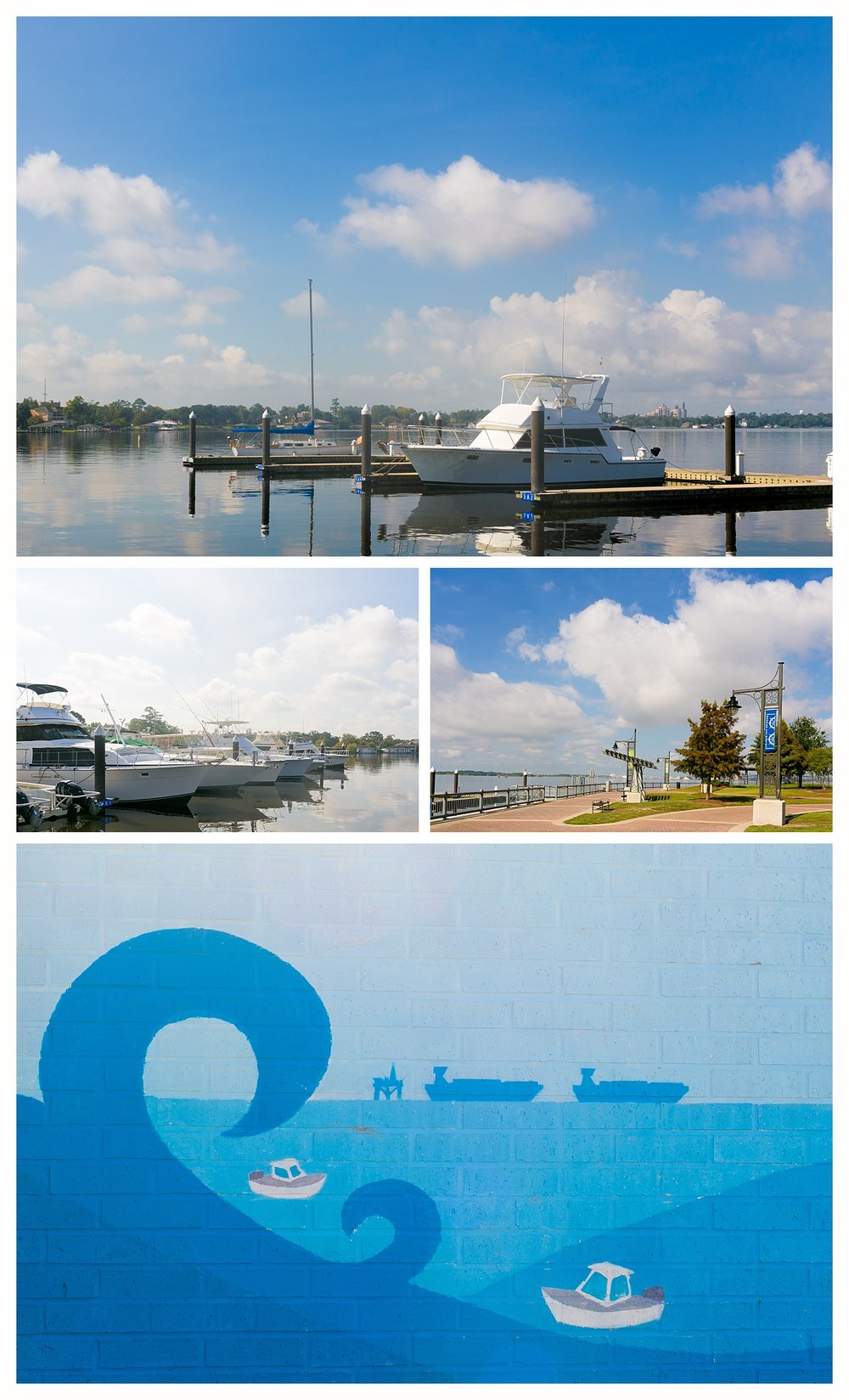 boats in harbor in Lake Charles, Louisiana