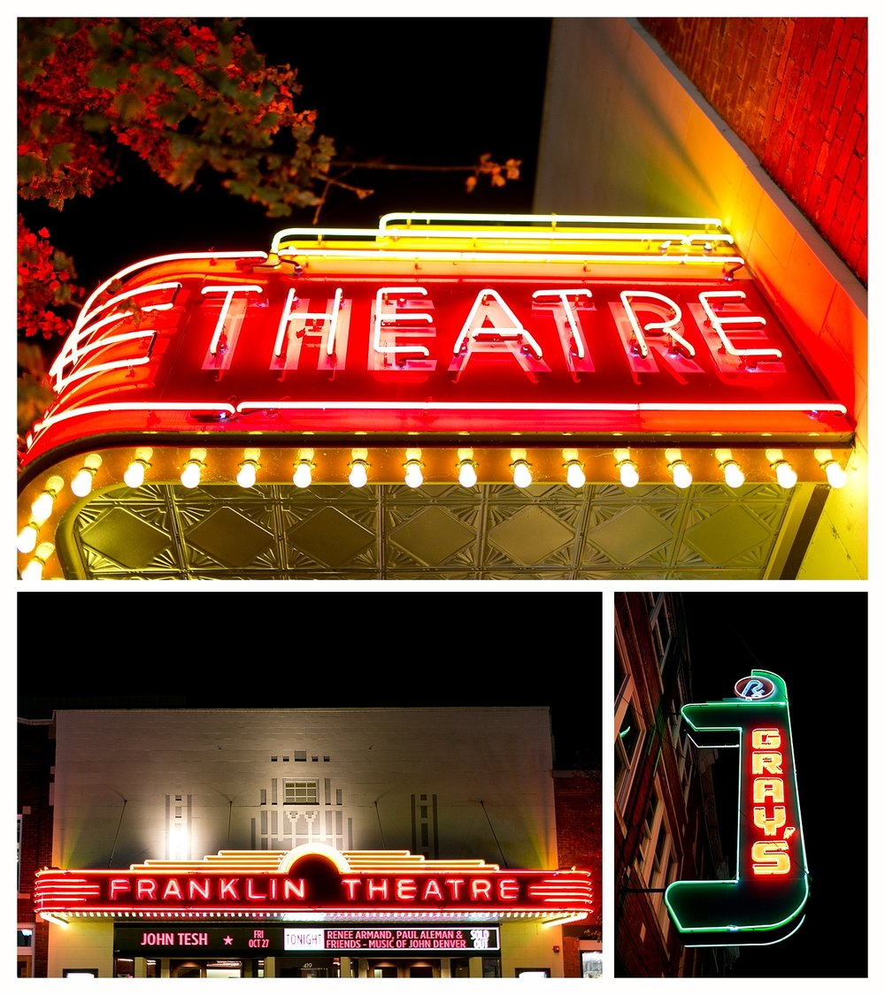 Gray's and Franklin Theatre at Night (neon signs in downtown Franklin, TN)