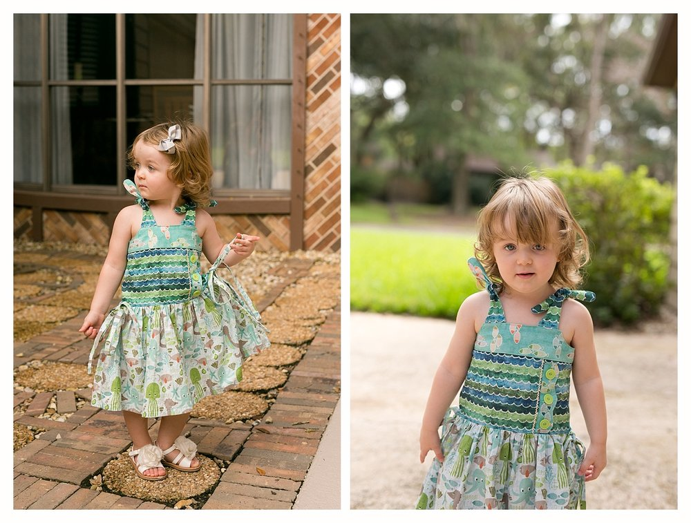 toddler girl in handmade ocean-themed dress