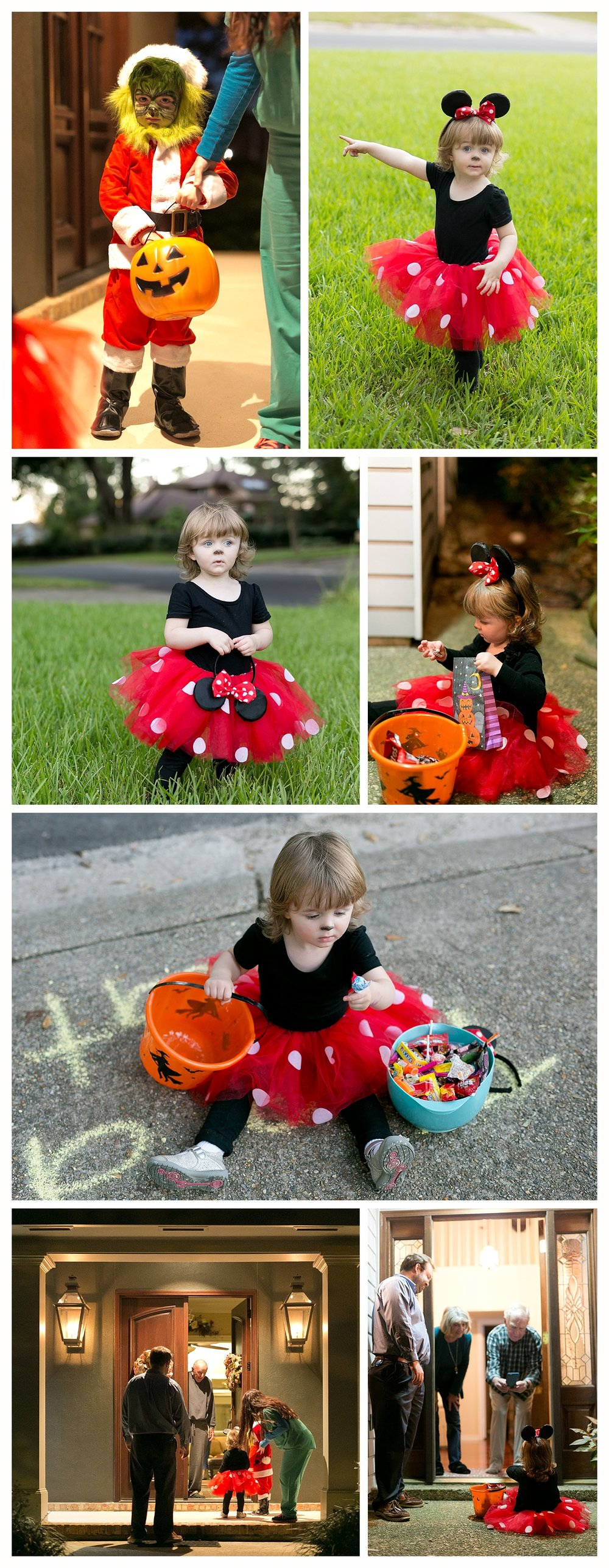 little girl trick-or-treating in Minnie Mouse costume