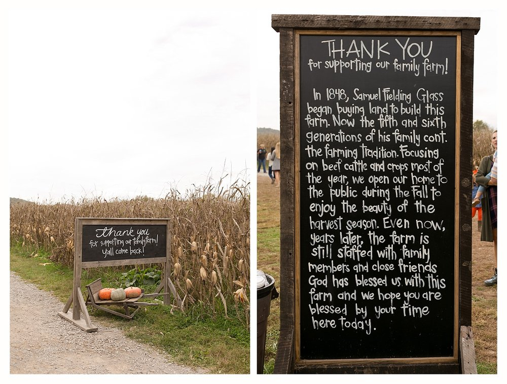 thank you signs at Gentry's Farm