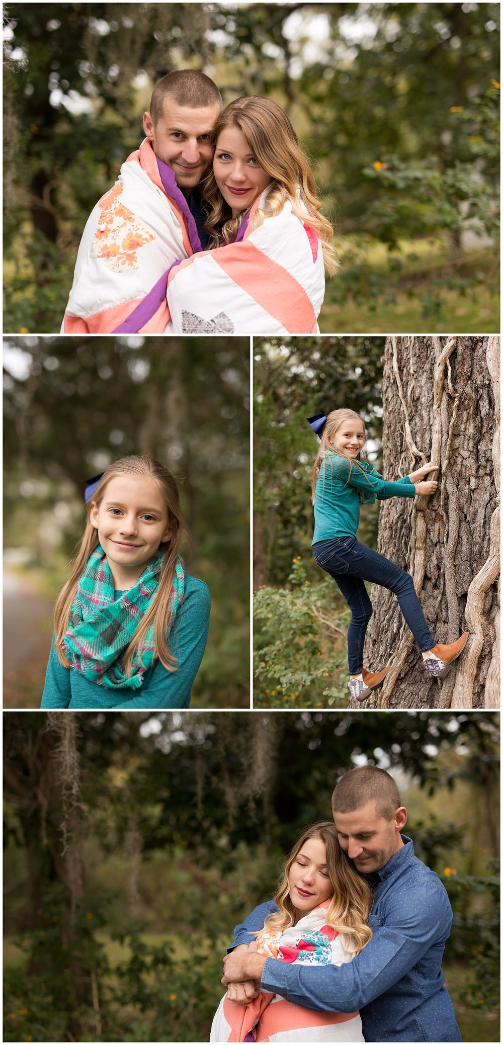 girl climbing tree, couple snuggled in quilt outdoors