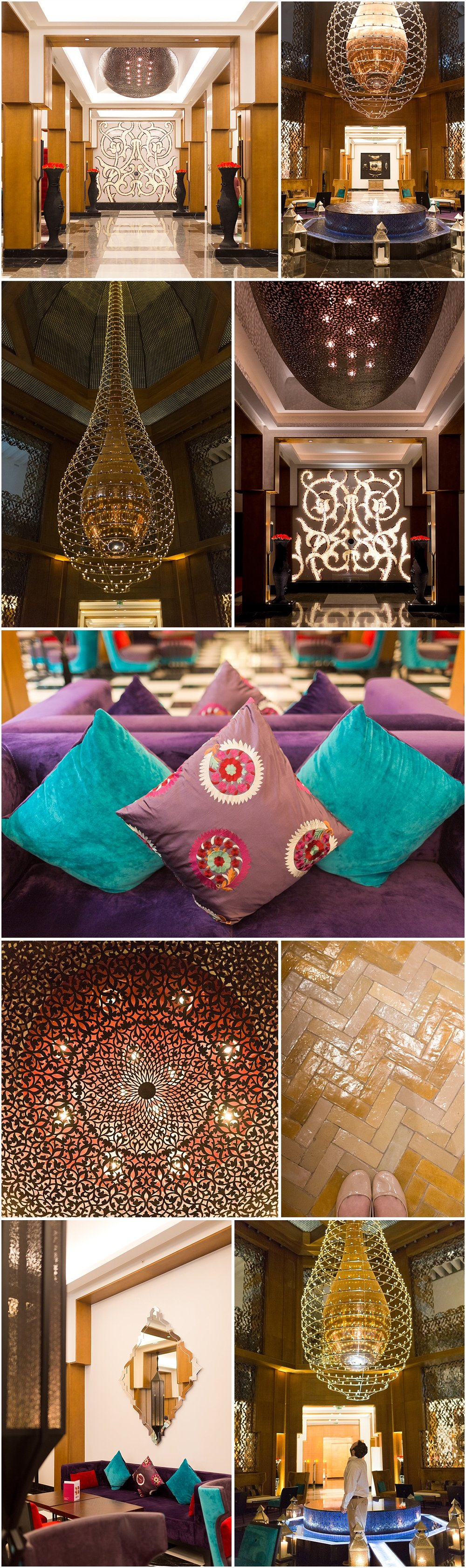 gorgeous modern Moroccan decor inside Movenpick Hotel Marrakesh