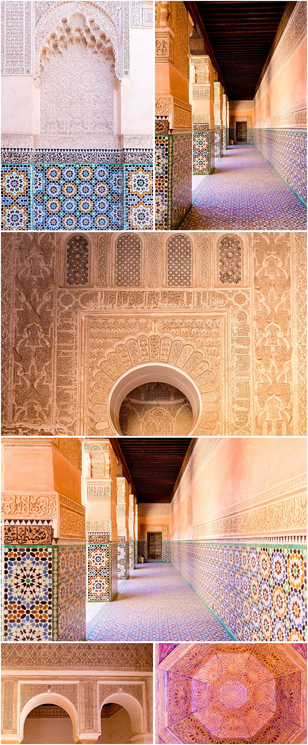 corridors, woodwork, and mosaic tile at Medersa Ben Youssef (Marrakech travel blog)