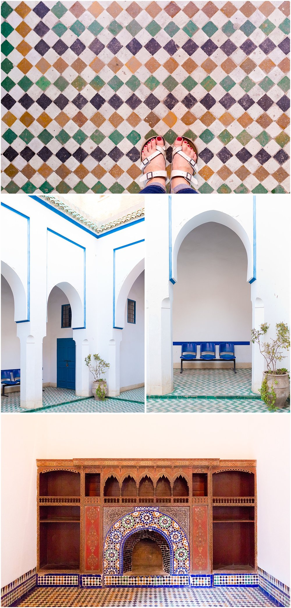 entryway of Bahia Palace with mosaic tile, blue and green decor - Morocco travel blog