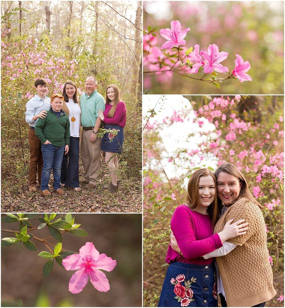 Ocean Springs family portraits with azaleas