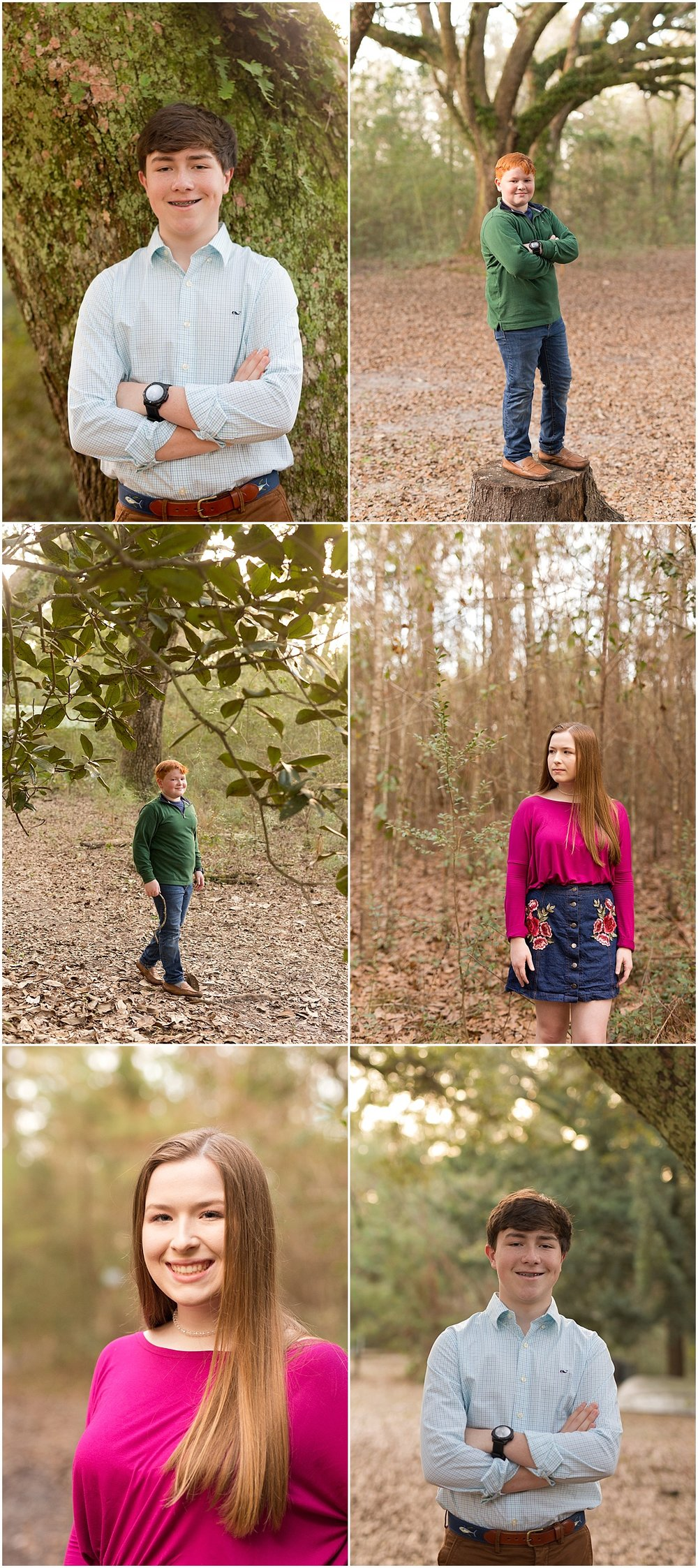 individual headshots of siblings during family portrait session - Ocean Springs, MS
