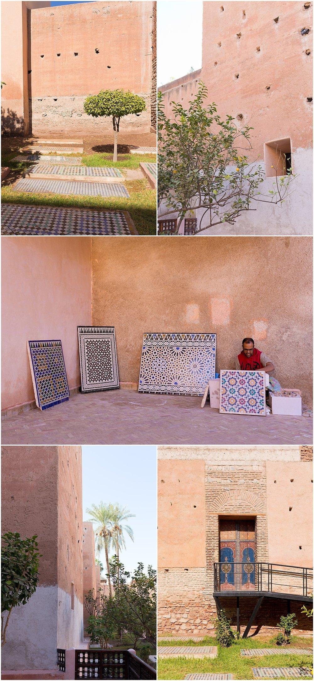 architecture at Marrakesh Saadian tombs