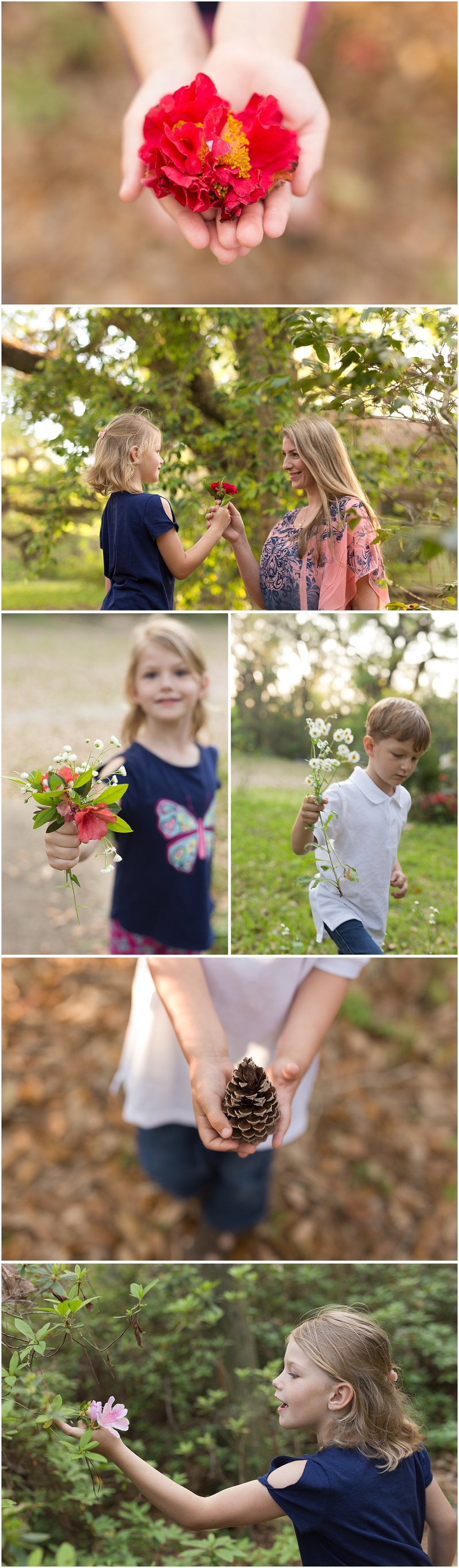 kids picking flowers for parents in the woods - lifestyle portrait session in Ocean Springs, MS