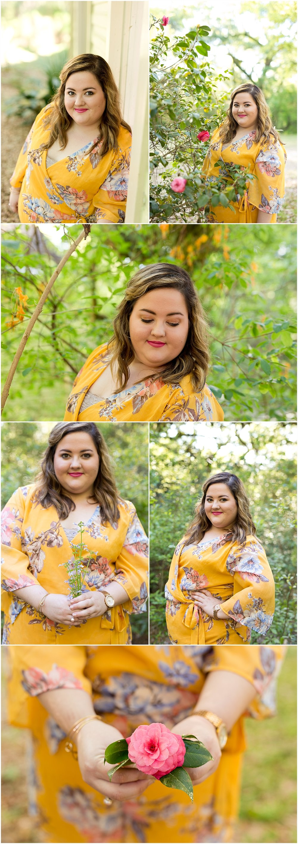 Senior Portraits with flowers in Ocean Springs, Mississippi