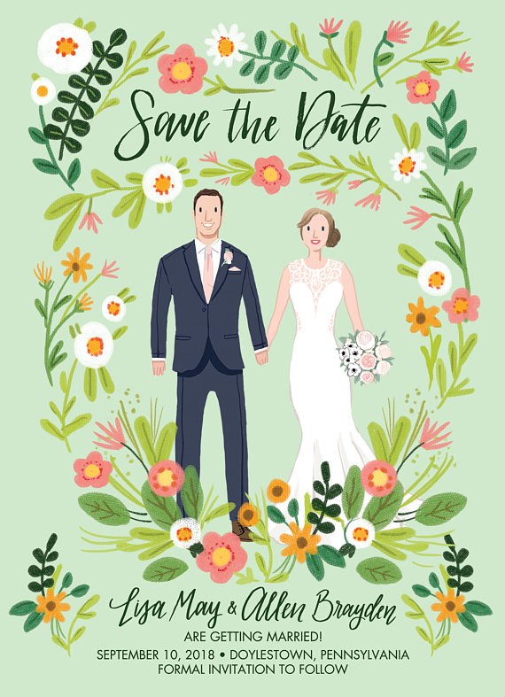 illustration save the date - wedding ideas from Ocean Springs wedding photographer