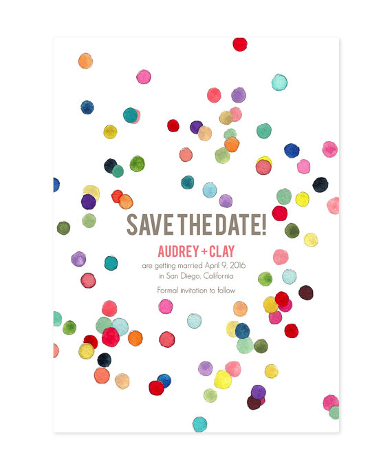 confetti save the date - Ocean Springs wedding ideas