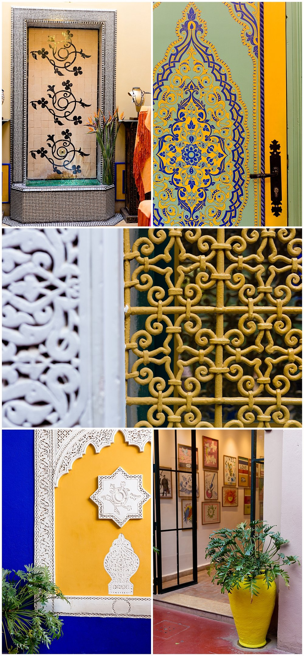 architectural details in Jardin Majorelle, Marrakech, Morocco