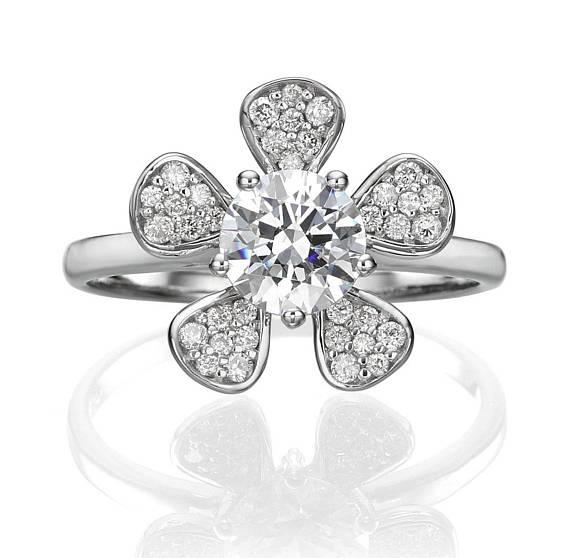 flower halo diamond ring on Etsy