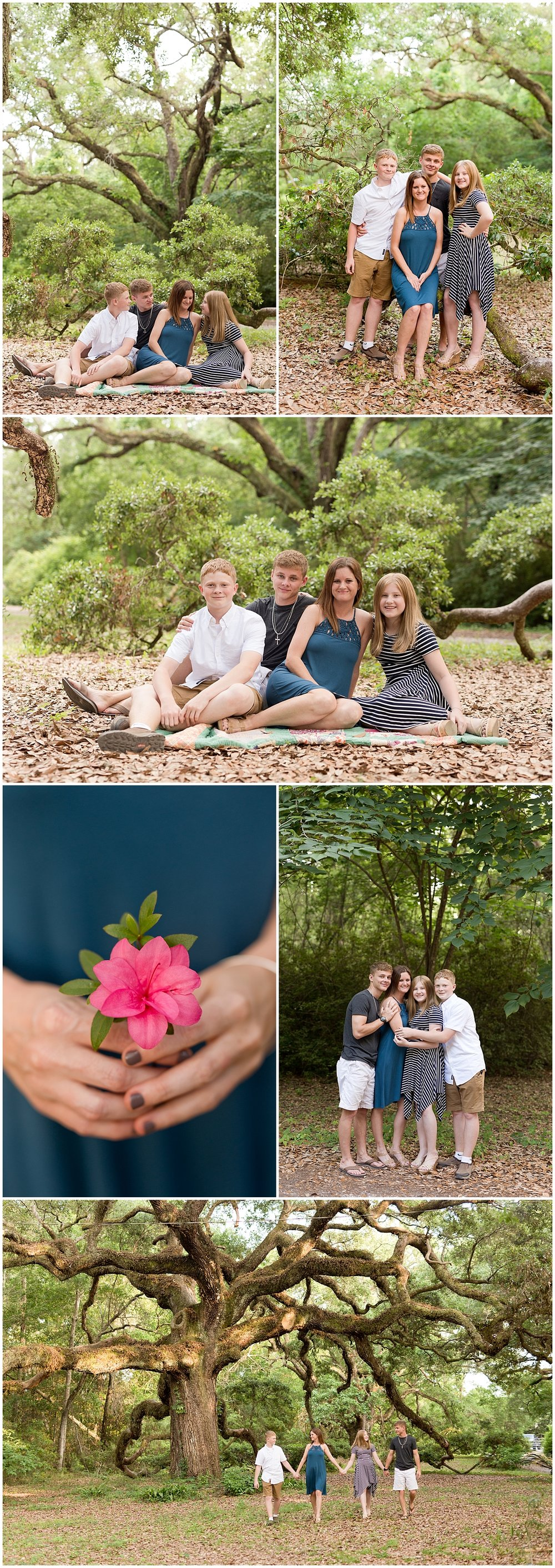 Ocean Springs family photos with oak trees - mom with adolescent sons and daughter outdoors