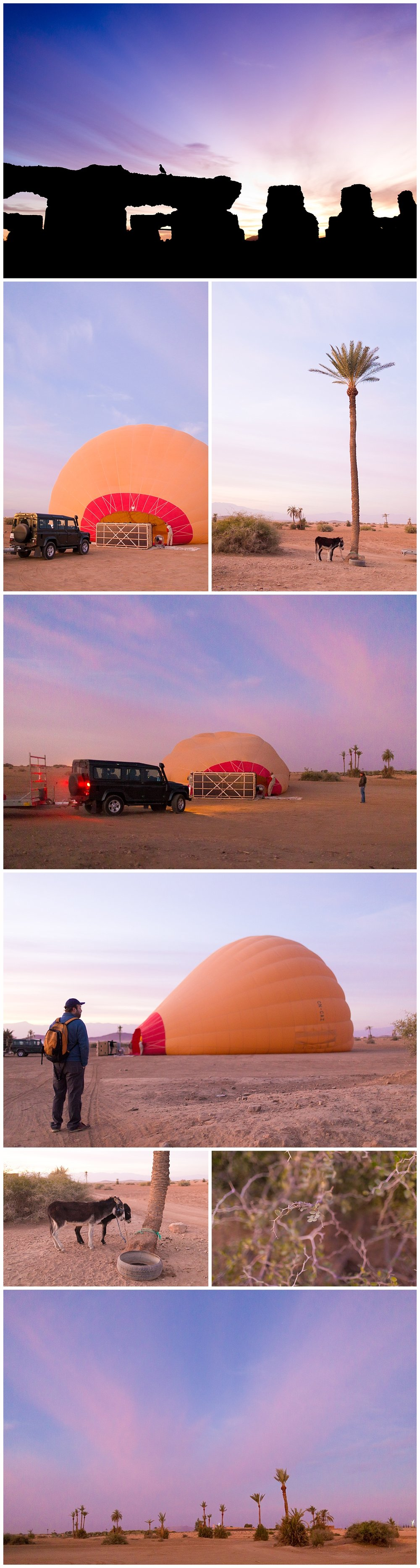 hot air balloon being inflated in the desert - Morocco travel blog