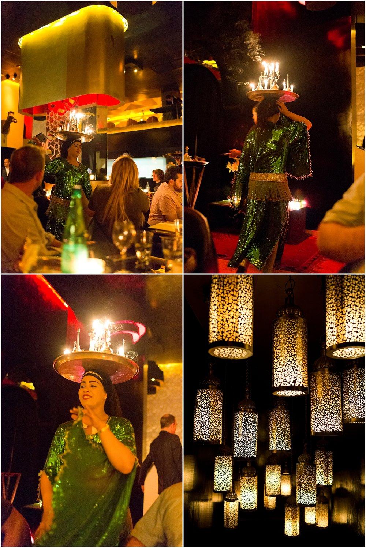 Moroccan candle dancing at Azar restaurant in Marrakech, Morocco