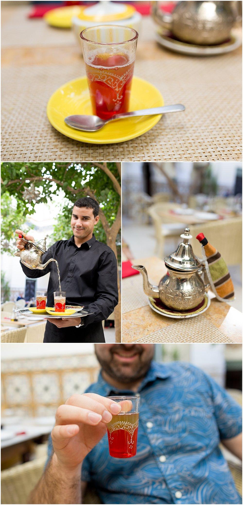 Moroccan mint tea at Marrakech, Morocco restaurant Limoni