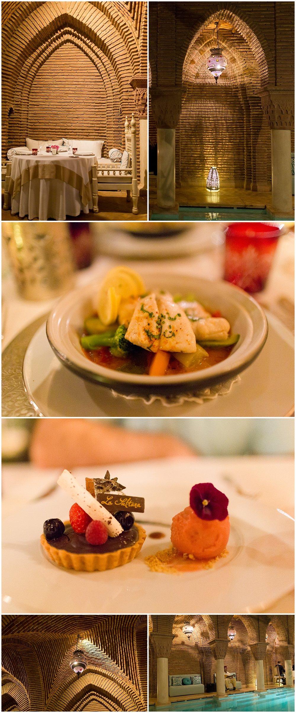 food and Moroccan decor at La Sultana restaurant in Marrakech, Morocco