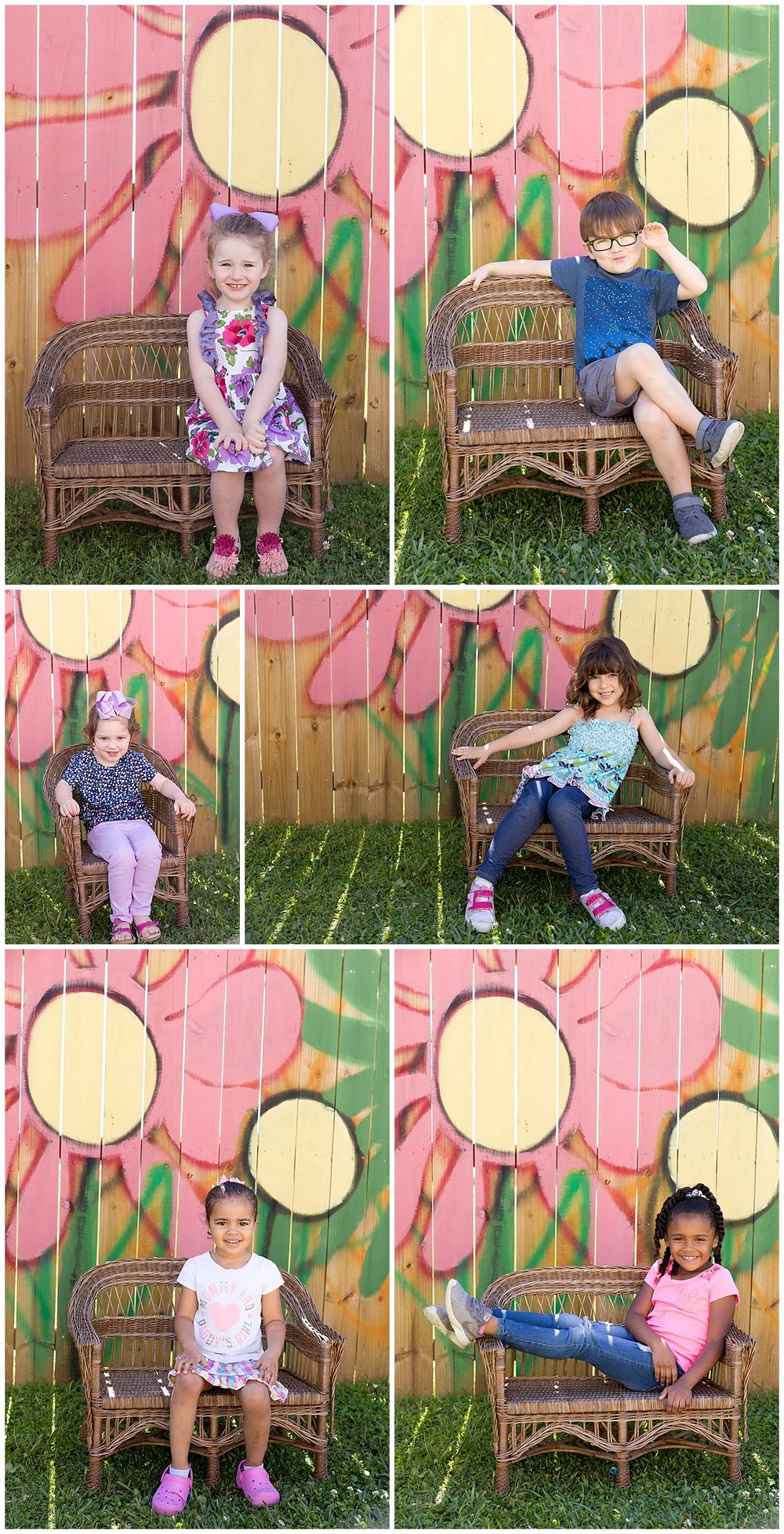 preschool portraits with colorful wall and wicker bench - Ocean Springs school pictures