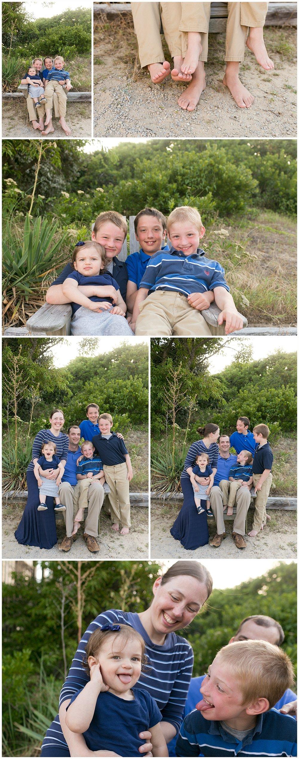 coastal family photos - portraits of family of six