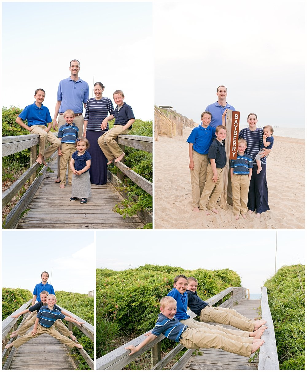family photos on beach of Outer Banks, NC