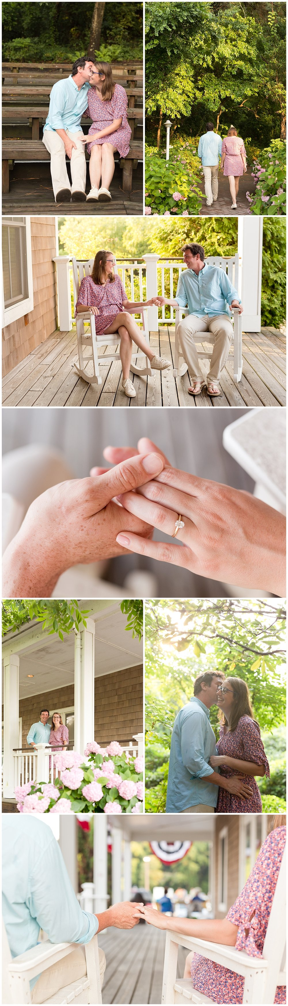 engagement photos with porch and rocking chairs - Ocean Springs, MS wedding photographer