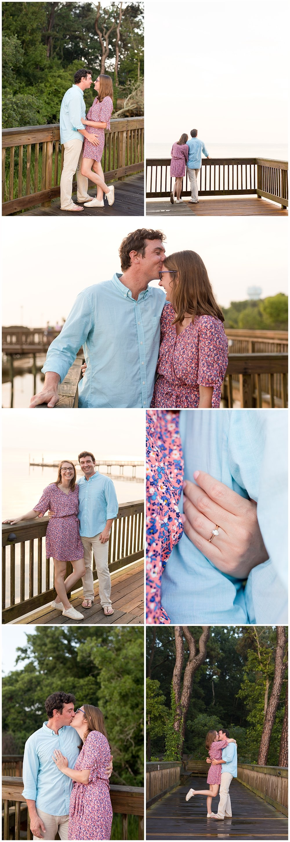 engagement pictures with boardwalk - wedding photographer in Ocean Springs, MS
