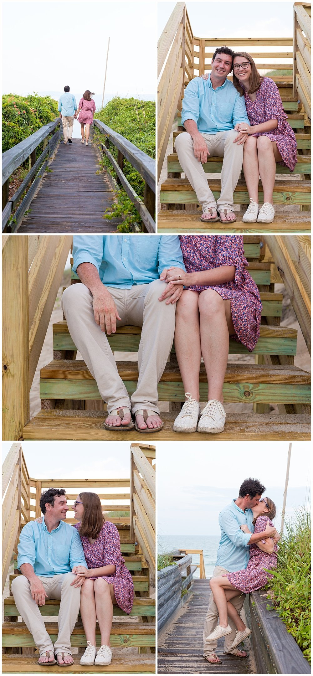 cute engagement photos with pier - coastal engagement picture ideas