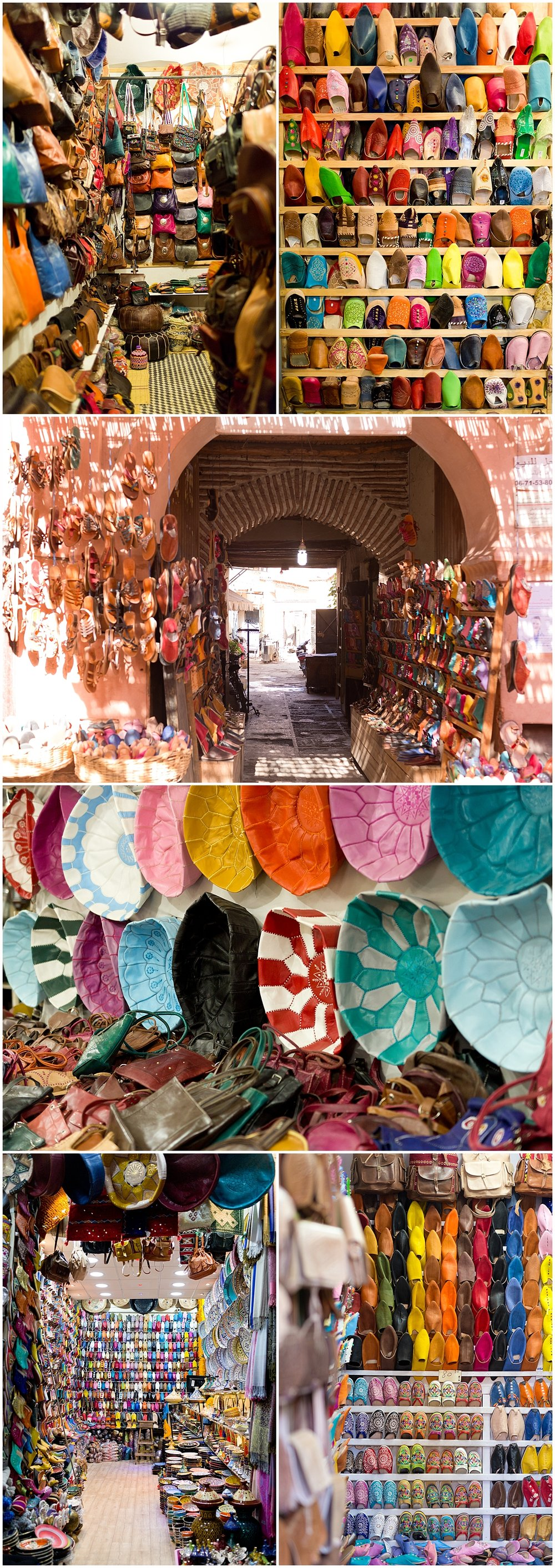 colorful leather goods for sale in Marrakech, Morocco - poufs, moccasins, bags