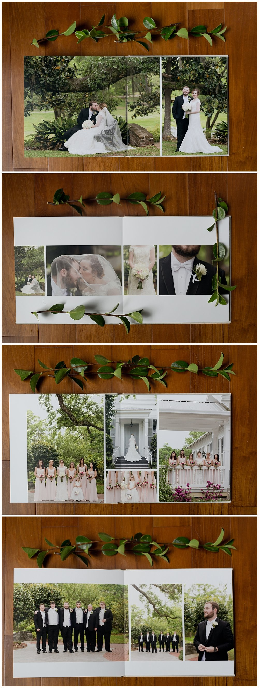 wedding portraits in wedding album - Ocean Springs wedding photographer