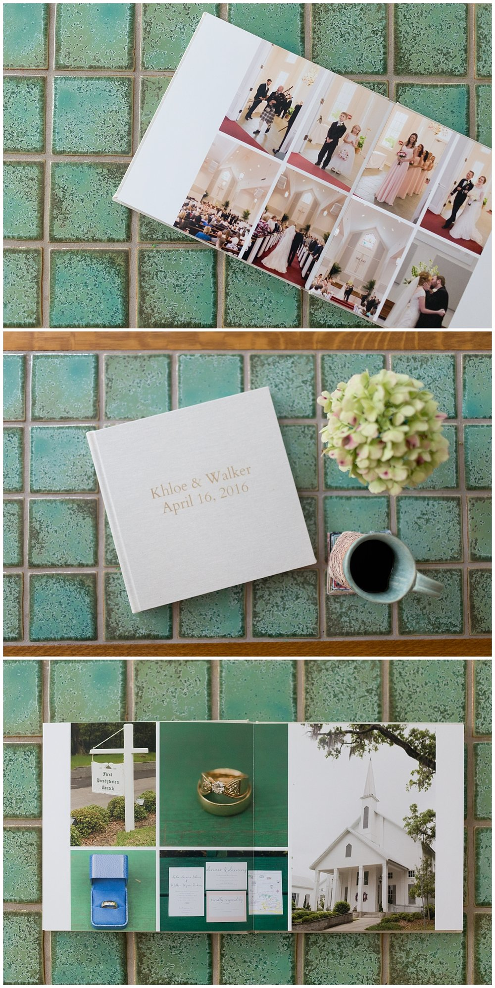 wedding photo album on coffee table - Ocean Springs wedding photography album